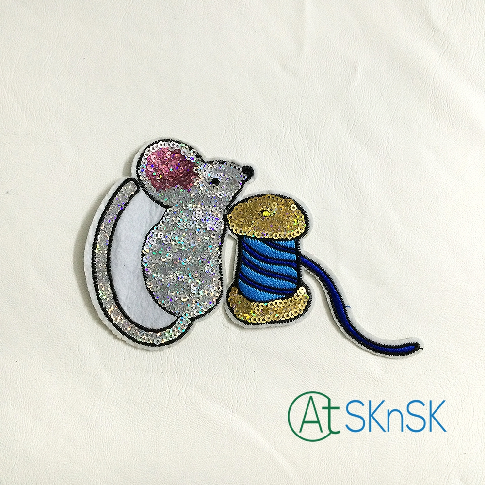 5pcs Lot Embroidered Cloth Patches Iron On Mouse With Blue Hair Moouse Toshiba Kw Bulb Patch Sequins Diy Sew Motif Applique 15cm95cm A1