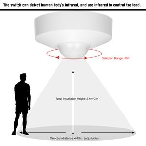 Image 5 - الميكروويف الرادار مصباح لجهاز الاستشعار التبديل السقف الإشغال PIR الجسم كاشف حركة 360 درجة الوقت الإعداد 5.8GHz HF Systerm