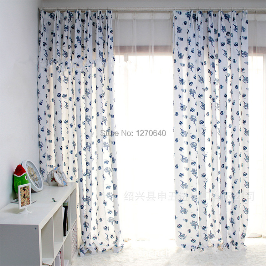 Country Style Kitchen Curtains Blue Floral Simplex Printing Semi