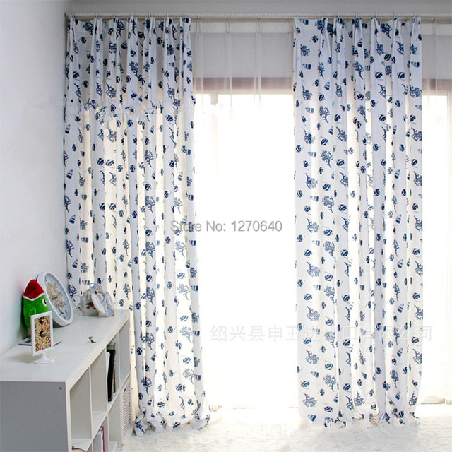 Aliexpress.com : Buy Country style kitchen curtains blue floral ...