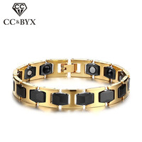 CC Trendy Jewelry Bracelet Stainless Steel Ceramic Magnet Bijouterie Unique Men's Bangles Armband Mannen SBRM 038