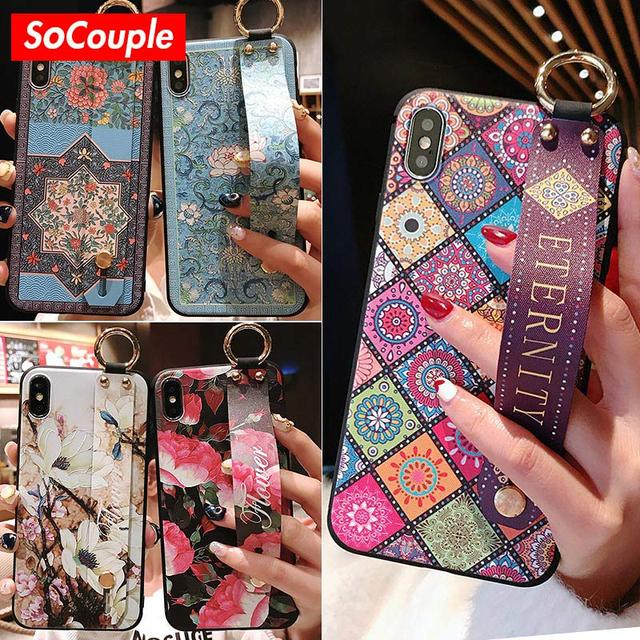 SoCouple Wrist Strap Soft TPU Case For iphone 7 8 6 6s plus Case For iphone X Xs max XR Vintage Flower Pattern Phone Holder Case