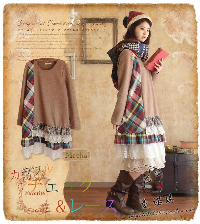 autumn winter plaid patchwork long sleeve dress lace layered honey moda hippie dresses boho crochet tunique femme lolita mori