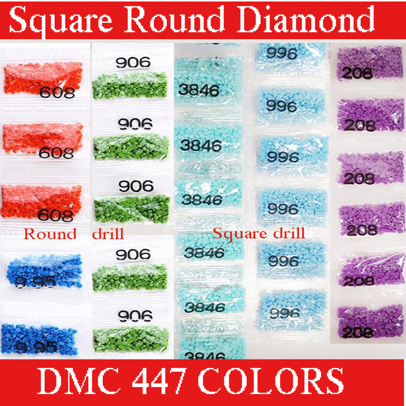 Wholesale DMC 447 colors Rhinestones for Embroidery Full Square round Crystal for Diamond Painting