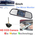 Câmara de Estacionamento Auto Stystem CCD HD Visão de Cores Noite À Prova D' Água Retrovisor Do Carro Invertendo Camera + 5 polegadas LCD Monitor Do Carro espelho