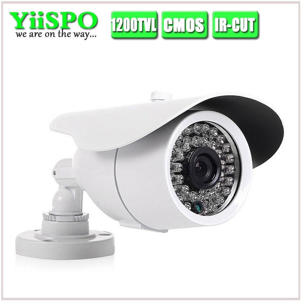 YiiSPO IR-CUT HD CMOS caméra 36 pièces panneau LED caméra de sécurité vidéo extérieure CCTV 1200TVL COMS pour objectif fixe 3.6/6mm grand angle