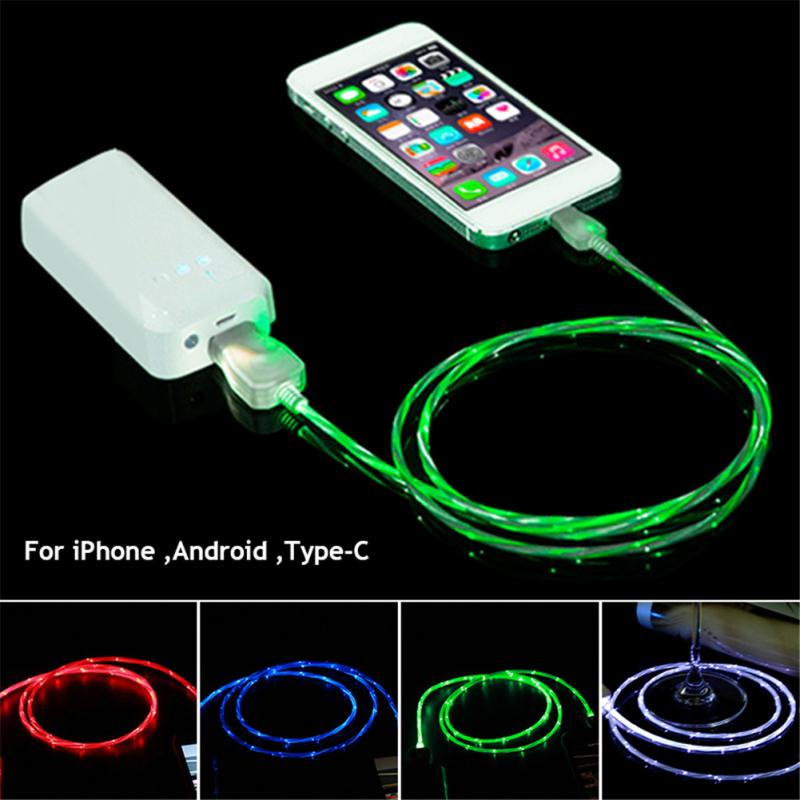 Fast Charge Cable Led Light Micro Type C and for iPhone USB Charging Cable Mobile Phone Cables for Charge and Data Transmission in Mobile Phone Chargers from Cellphones Telecommunications