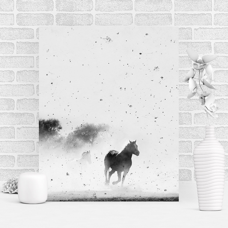 Black-and-White-Horse-Photography-Wall-Art-Canvas-Print-and-Poster-Cowboy-Horse-Quote-Canvas-Painting (1)
