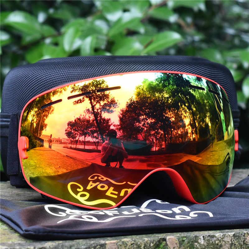 c8389b092c62 ... Brand ski goggles with box case double layers anti-fog lens big vision  mask glasses ...