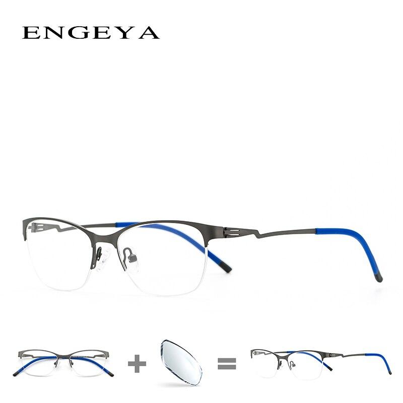 Из Металла Для женщин очки ретро ясно близорукость полукадра Оптический синий свет очки кадр #8055