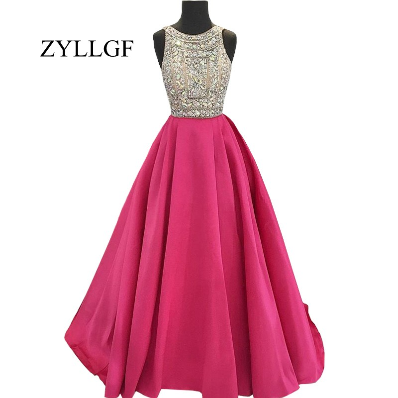 ZYLLGF Long Evening Gown Dress 2019 Elegant Heavy Beaded Crystals Hot Pink Sexy Backless Women Prom Party Dress RS16
