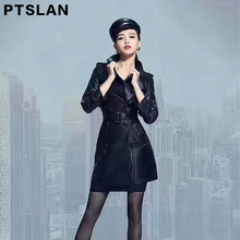Ptslan Spring/autumn Black Real Leather Trench Coat Waistband Women Full Sleeve Trench Europe Style Genuine Overcoat