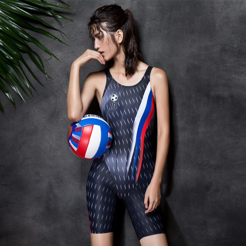 ФОТО 2016 new competition knee length  women's swimwear girls training racing swimsuit