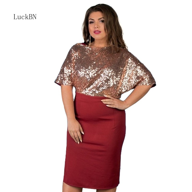 Plus Size Sequin Party Dress Ladies Dresses for Summer Autumn Office Casual Large Women Clothing Loose Vestidos