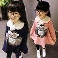 2015 Niñas Otoño Invierno Outwear Espesar Con Capucha Animal de la Historieta Versión Coreana de Los Niños, Además de Terciopelo Sudaderas