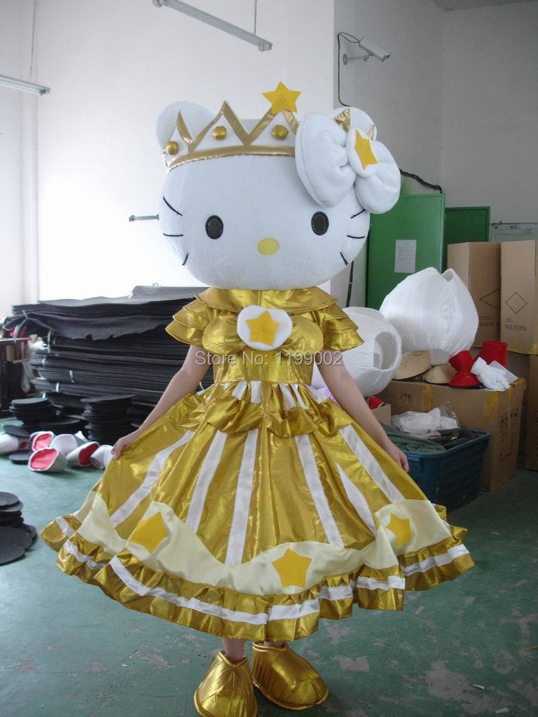 Hot most popular Halloween costume princesses hello kitty mascot costume Free Shipping Same As Pictures!! free shipping