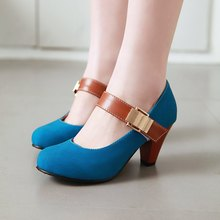 Womens Low Chunky Heel Shallow Retro Mary Janes Pumps Shoes Plus Size 34 - 48 High Heels