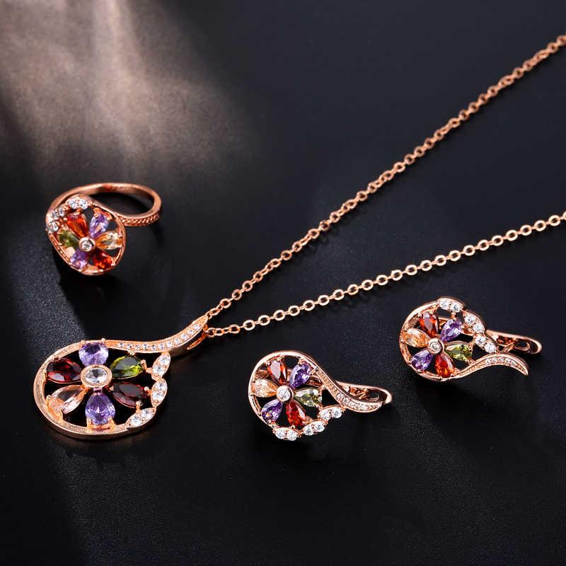 Conjunto de joyas de oreja de oro rosa de circonita peridoto de granate, pendiente, collar, anillo colgante, Tamaño 7 8 M01-JS0134