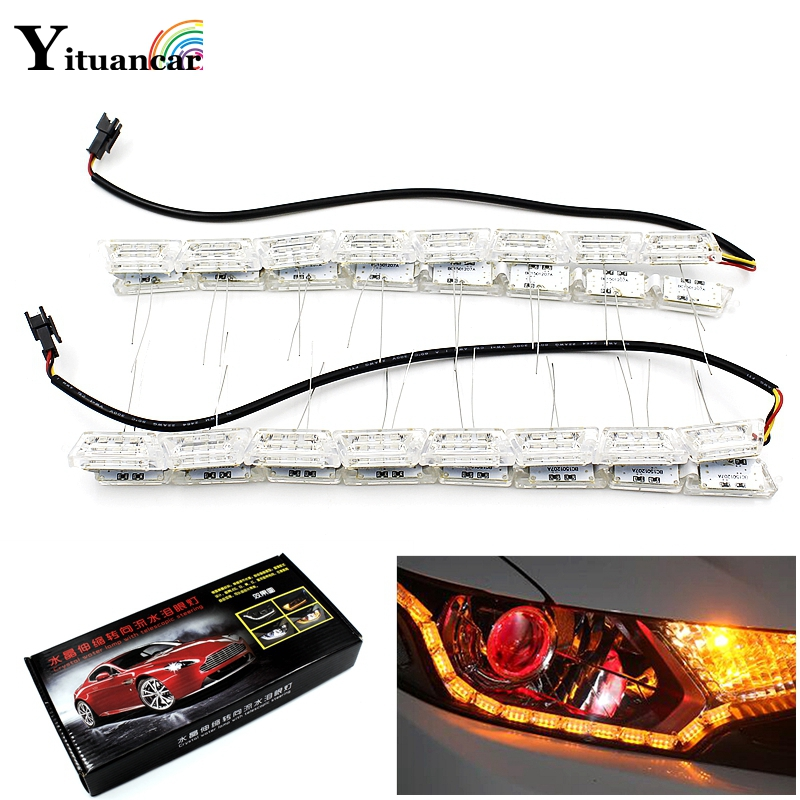 Yituancar 2X Car Flexible Crystal LED DRL Daytime Running Strip Light With Turn Signal Flow Streering Styling White/Amber Lapms luces led de policía