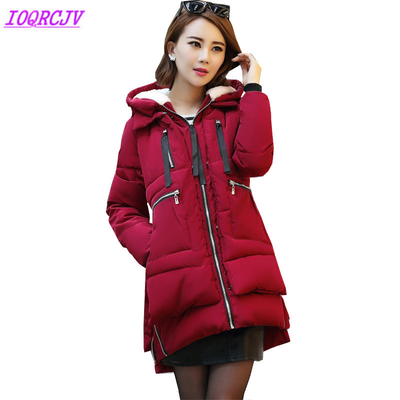 Plus size 5XL down cotton jackets for women 2018 winter parkas Thick warm Flocking Hooded coats ladies parkas top IOQRCJV H420
