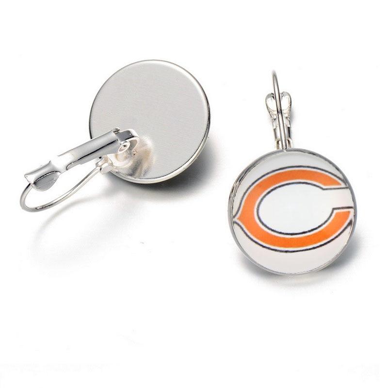 10air Спортивная команда Футбол Chicago Bears Jewelry Стекло Серьги для женщины подарок шпилька/Подвеска Шарм Серьги ювелирные изделия