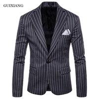 New arrival style men boutique leisure blazers fashion casual single button jacket dress men's slim stripe suit coat size M 4XL