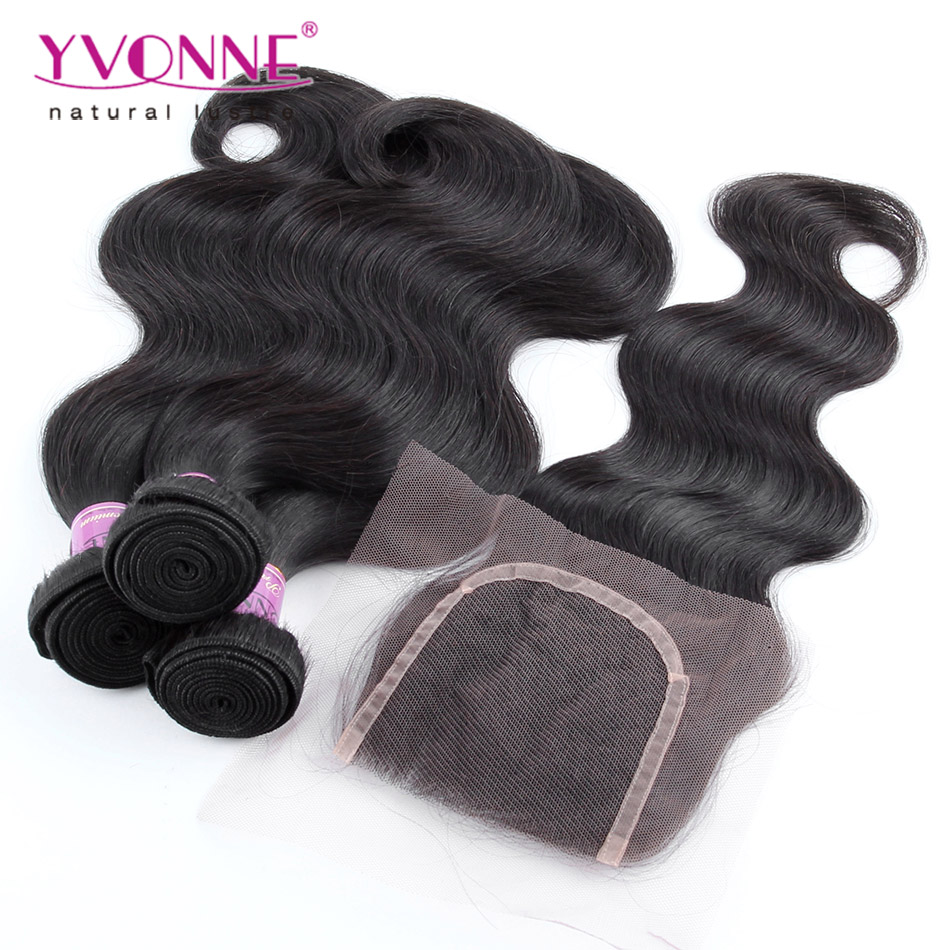 3 Bundles Brazilian Virgin Hair With Closure, Aliexpress YVONNE Brazilian Body Wave With Closure, 100% Human Hair