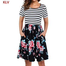 KLV Women Summer Short Sleeve Midi Dress Floral Causal Striped With Pockets Swing