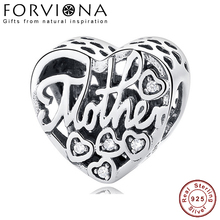 62edc8131 100% Real 925 Sterling Silver Mother & Son Heart Charm Bead Fit Original Pandora  Charm