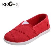 457be7ac5 SKOEX Meninas Lona Sapatos Casuais Slip-on Sapatos Flats Primavera/Outono  Sapatilhas Dos Miúdos das Crianças Meninos Alpercatas .