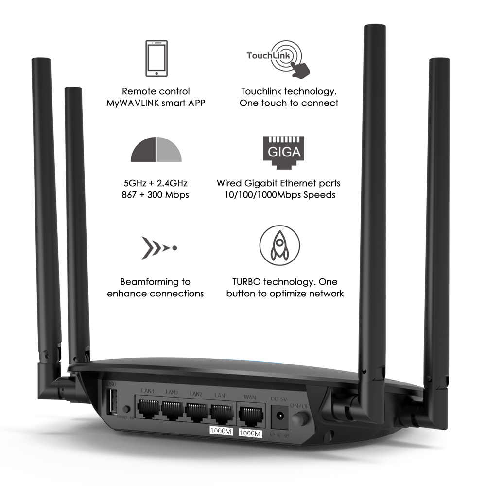 Wavlink 1200 Mbps WiFi inteligente Router Ghz Touchlink AC1200 Dual-Band Gigabit Ethernet Router Wi-Fi inalámbrico de 2,4 Ghz repetidor WiFi
