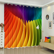 цена на Customizable 3D Curtains Dense Colored Swatches Pattern Panel Washable Fabric Bedroom Blackout Curtains for Living Room Hotel