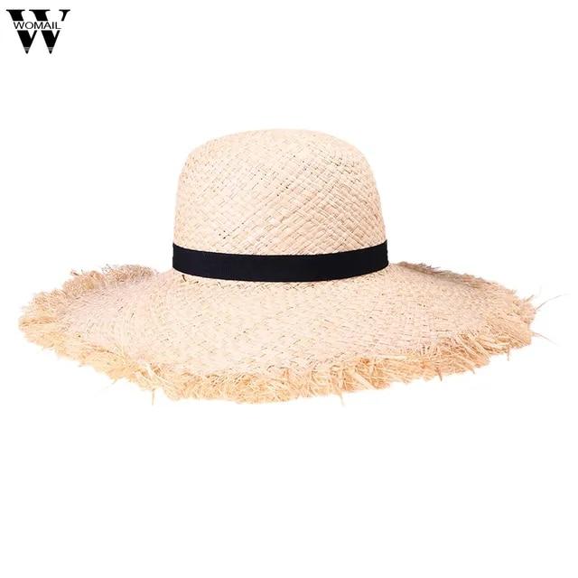 Womail Hat 1PC Summer Cap Women Wide Brim Sun Hat Summer Beach Cap Packable Lafite Straw Hat for Travel 2019 Mar21 Dropship