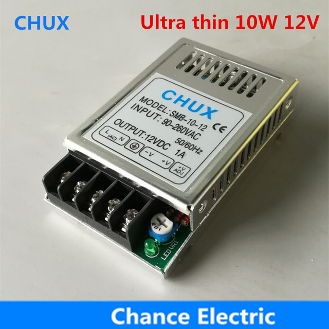 10W 12V DC Ultra thin 90V-260VAC Input 0.8A for LED Strip light Single Output Switching Power Supply