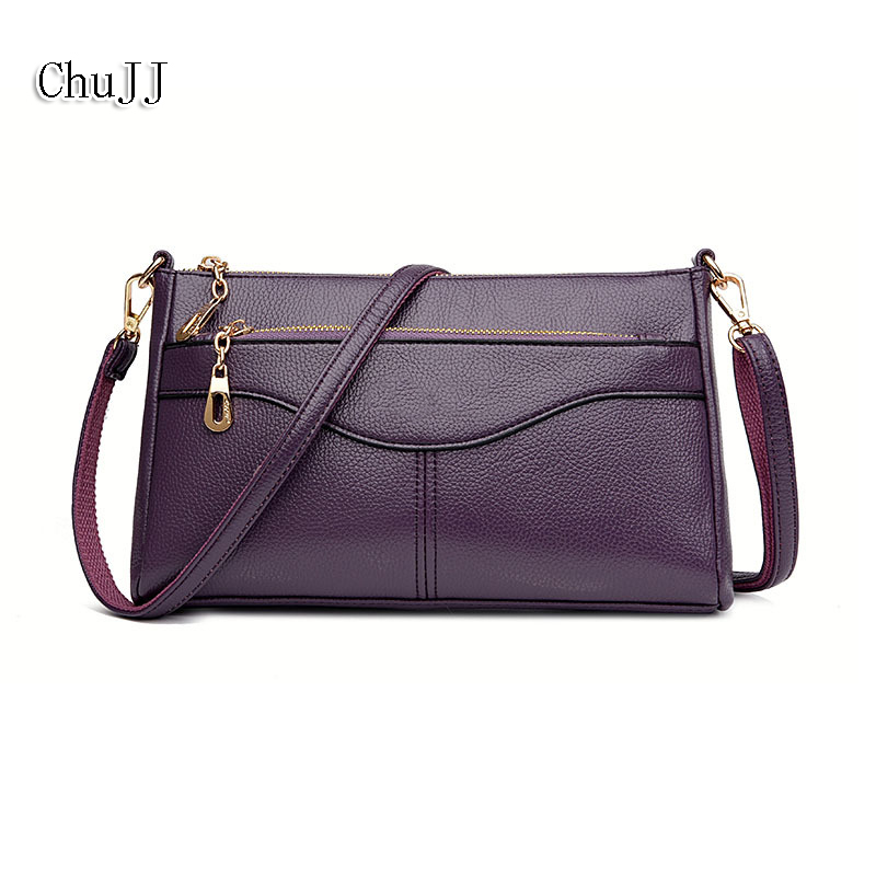 Chu JJ High Quality Women's Genuine Leather Handbag Flap Cow Leather Shoulder Bags Women Messenger Bags Small Bag Ladies Handbag