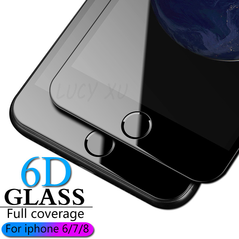 6D High quality Curved Edge Protective Glass For iPhone XR XS Max 7 6 6s 8 Plus Film for
