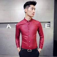 Spring and autumn tide men's tight mesh red shirt Korean nightclub hair stylist stand collar long sleeved shirt overalls