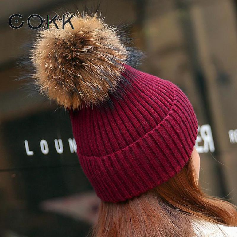 COKK Raccoon Fur Pompom Beanie Winter Hats For Women Men Wool Hat Female Knitted Cap Bonnet Real Fur Ball Pom Pom Bone 2017 New autumn winter hats for women knitted beanie hat pom pom cap wool hat with real raccoon fur pompom female skullies beanie hats
