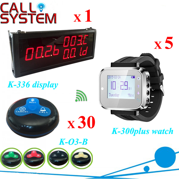 Restaurant caller paging system 5 waitress watch 1 display panel 30 table buzzer for guest use 2 receivers 60 buzzers wireless restaurant buzzer caller table call calling button waiter pager system