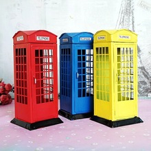 Metal British English London Telephone Booth Bank Coin Saving Pot Piggy Phone Box Red Blue Yellow