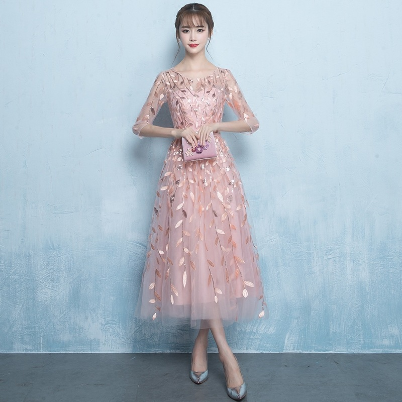 Classic Female O neck Gowns Pink Evening Gown Elegant Flower Qipao Noble Women Stage Show Cheongsam