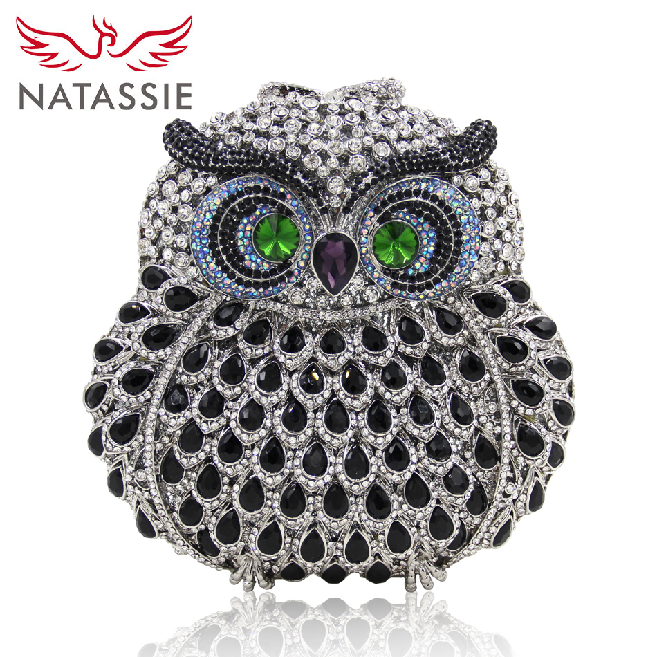 NATASSIE Women Owl Bags Ladies Evening Bag Fashion Animal Prints Clutches Female Fashion Party Crystal Purses free shipping a15 16 red color fashion top crystal stones ring clutches bags for ladies nice party bag