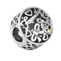 100% 925 Sterling Silver Jewelry Gold Family Tribute with Clear CZ Beads Fits pandora Bracelet Bangle DIY Accessorie