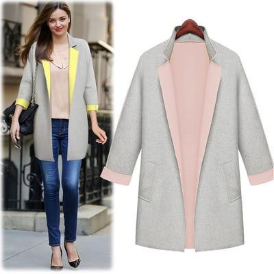 Sheinside pink Autumn/winter coats women Casual Tops Outerwear ...