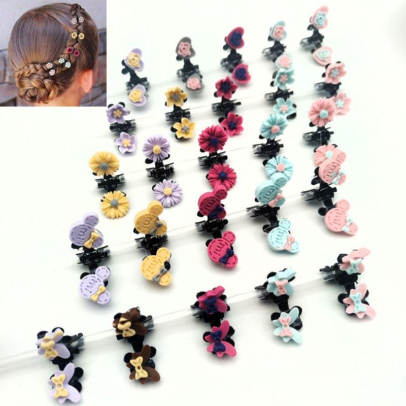 Novelty 5PCS/Lot Small Cute Flowers Hair Claws Rabbit Hair Clip Girls Headdress Hair Oranment Colorful Hair Accessories