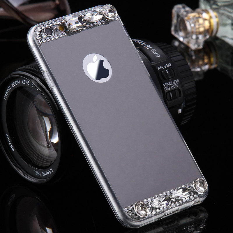 KISSCASE Clear Mirror Case For iPhone X 6 6s Plus Soft Silicon Diamond Cover For iPhone 5 5s SE 7 Plus Luxury Bling Cases Cainha in Fitted Cases from Cellphones Telecommunications