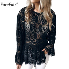 Forefair Elegant Lace Blouse Women Summer Autumn 2018 Female Jumper Casual Pullover Sexy Flare Sleeve Top Winter Ladies Tops