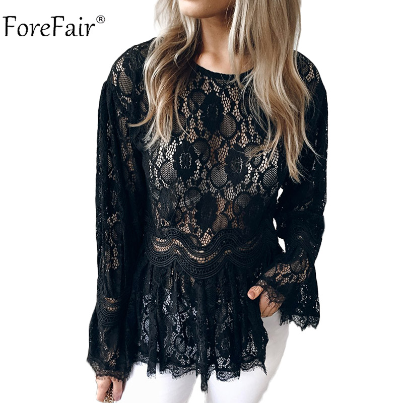 Forefair Elegant Lace Sexy   Blouse     Shirt   Women Autumn Winter Tunic Solid Slim Flare Sleeve See Through Casual Tops Ladies