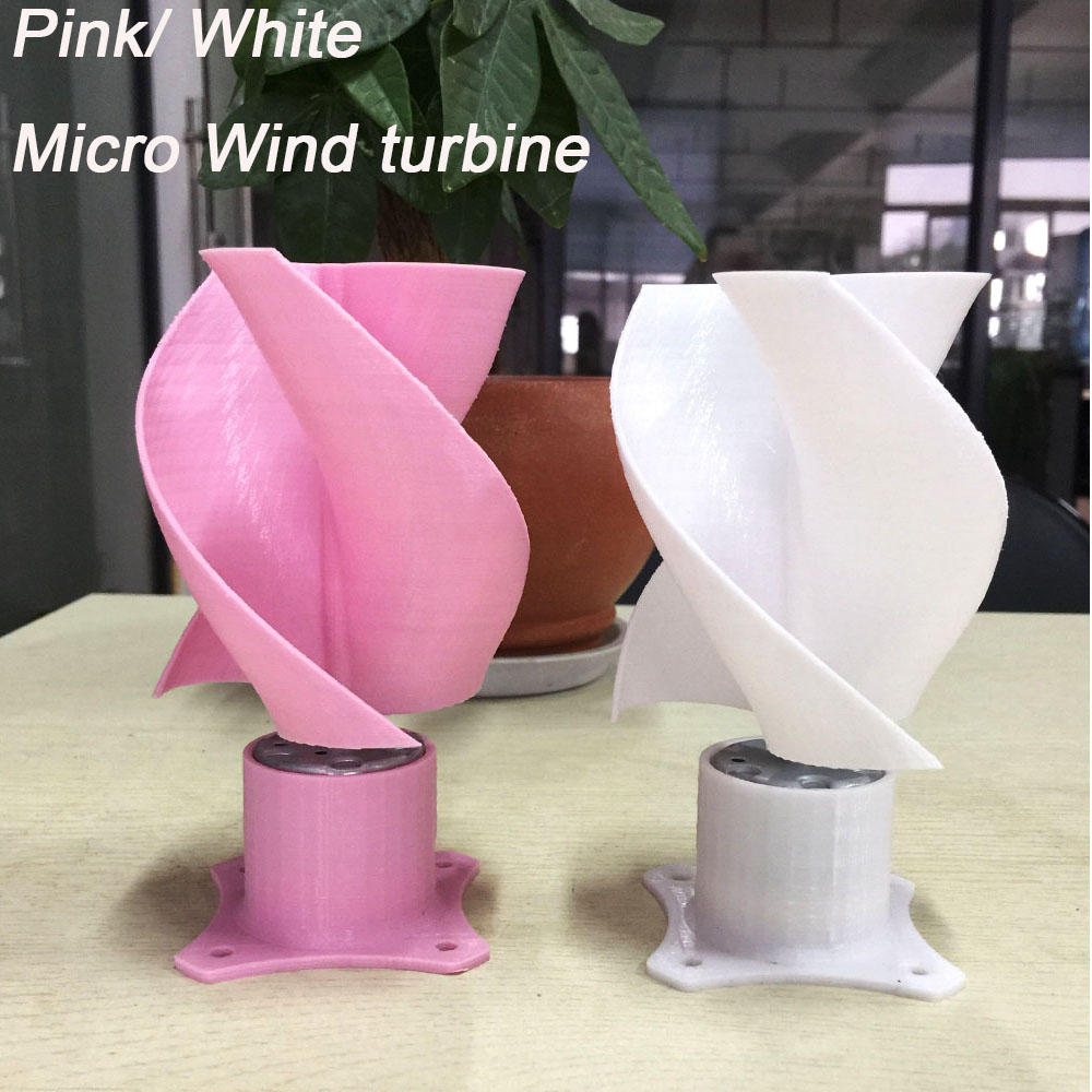 Couleur rose Fun DC Micro moteur petit LED lumières axe Vertical pales de générateur d'éolienne ensemble complet bricolage éolienne générateur moulin à vent