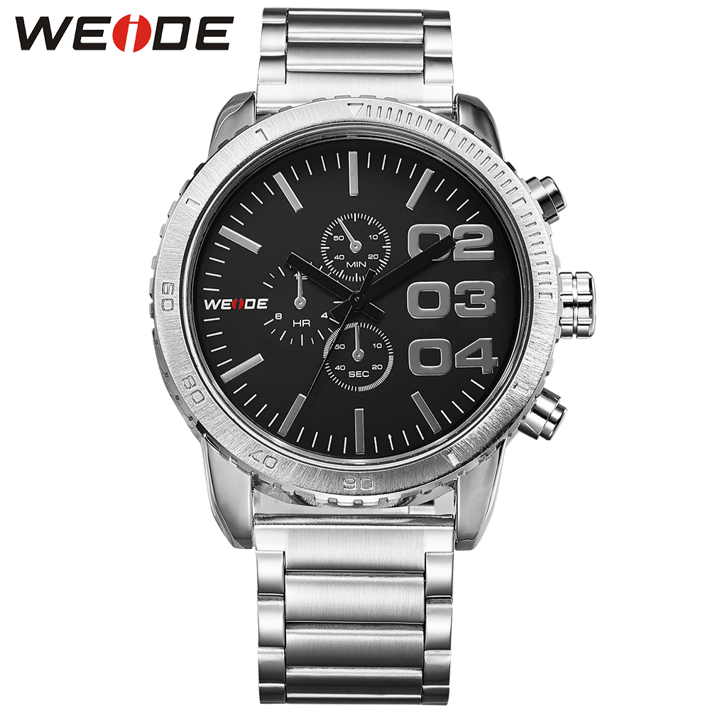 WEIDE Watch Men Quartz Movement Analog Sports Date Black Dial Stainless Steel Band Water Resistant Wristwatch weide 5205 men led sports watch with stainless steel band